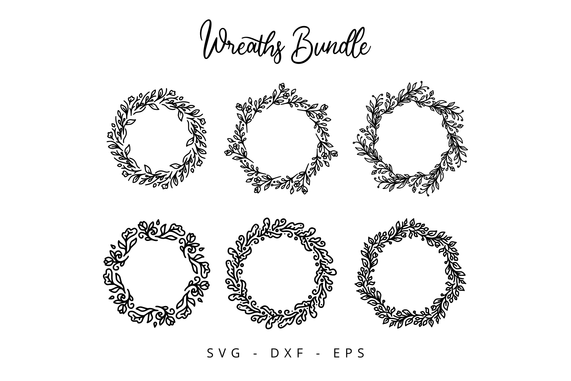 Download Free Floral Wreaths Bundle Graphic By Herbanuts Creative Fabrica for Cricut Explore, Silhouette and other cutting machines.