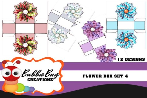 Flower Box Set 4 Graphic Crafts By BUBBABUG