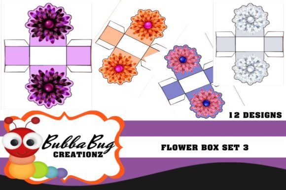 Flower Boxes Set 3 Graphic Crafts By BUBBABUG