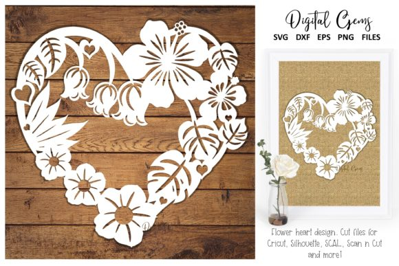 Download Free Flower Heart Design Graphic By Digital Gems Creative Fabrica for Cricut Explore, Silhouette and other cutting machines.
