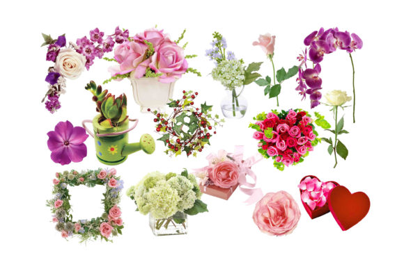 Print on Demand: Flowers Clipart Graphic Illustrations By retrowalldecor