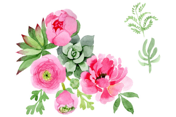 Print on Demand: Flowers Ranunculus Watercolor Graphic Illustrations By MyStocks - Image 1