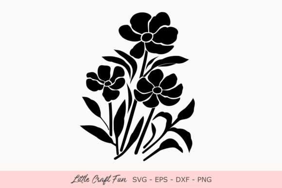 Download Free Flowers Silhouette Svg Graphic By Little Craft Fun Creative for Cricut Explore, Silhouette and other cutting machines.