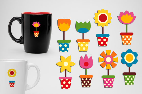 Print on Demand: Flowers in Pots Graphic Illustrations By Revidevi
