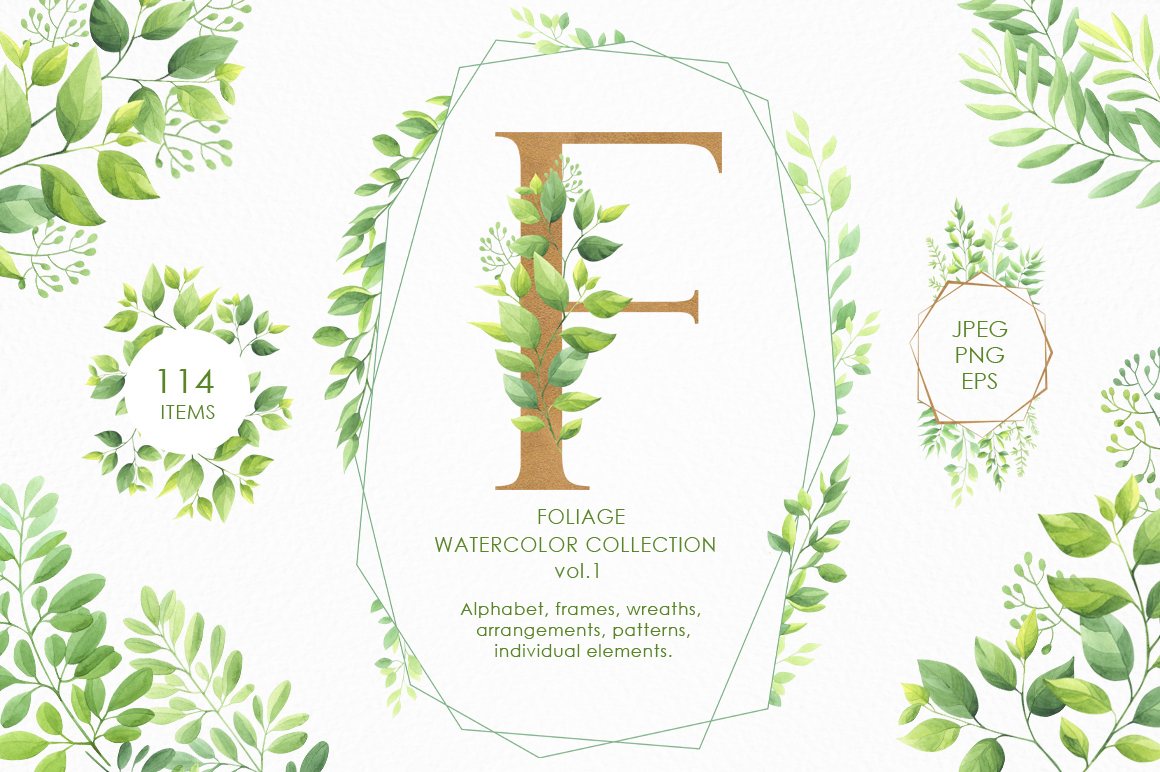 Download Free Foliage Watercolor Collection Vol 1 Graphic By Nata Art Graphic for Cricut Explore, Silhouette and other cutting machines.
