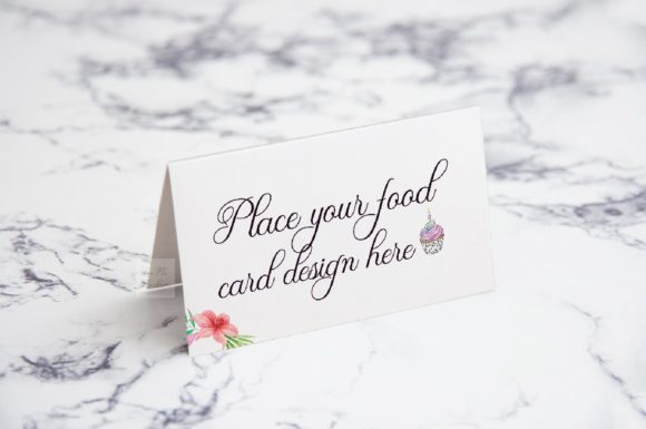 Download Free Food Table Catering Name Card Mockup Graphic By Leo Flo Mockups for Cricut Explore, Silhouette and other cutting machines.
