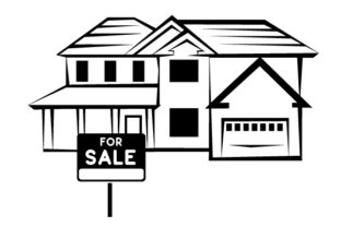 For Sale Sign in Front of a Two Story Home Zuhause Plotterdatei von Creative Fabrica Crafts