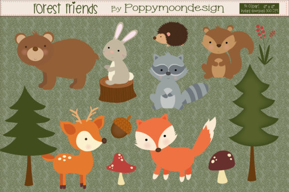Print on Demand: Forest Friends Graphic Illustrations By poppymoondesign