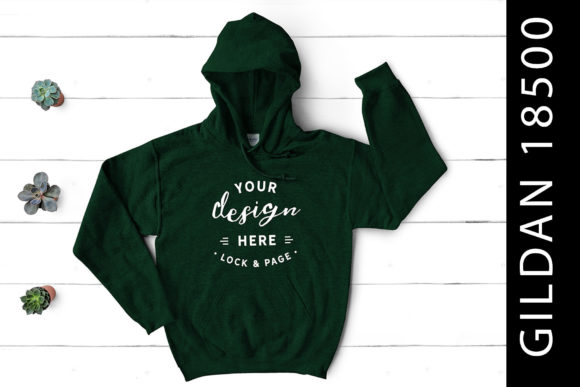 Forest Green Gildan 18500 Mockup Hoodie Graphic Product Mockups By lockandpage