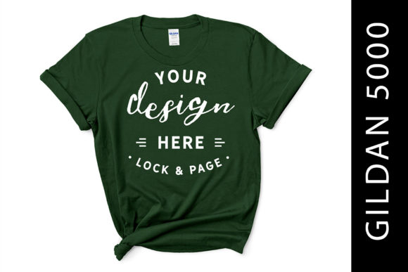Forest Green Gildan 5000 T Shirt Mockup Graphic Product Mockups By lockandpage