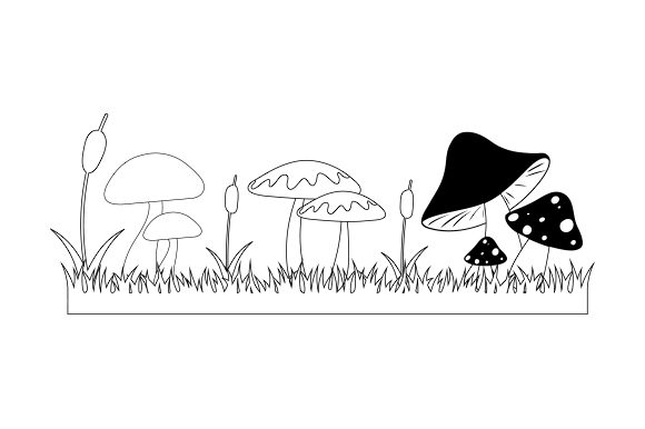 Forest Mushrooms Line Art Nature & Outdoors Craft Cut File By Creative Fabrica Crafts - Image 1