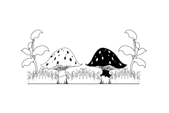 Forest Mushrooms Line Art Nature & Outdoors Craft Cut File By Creative Fabrica Crafts