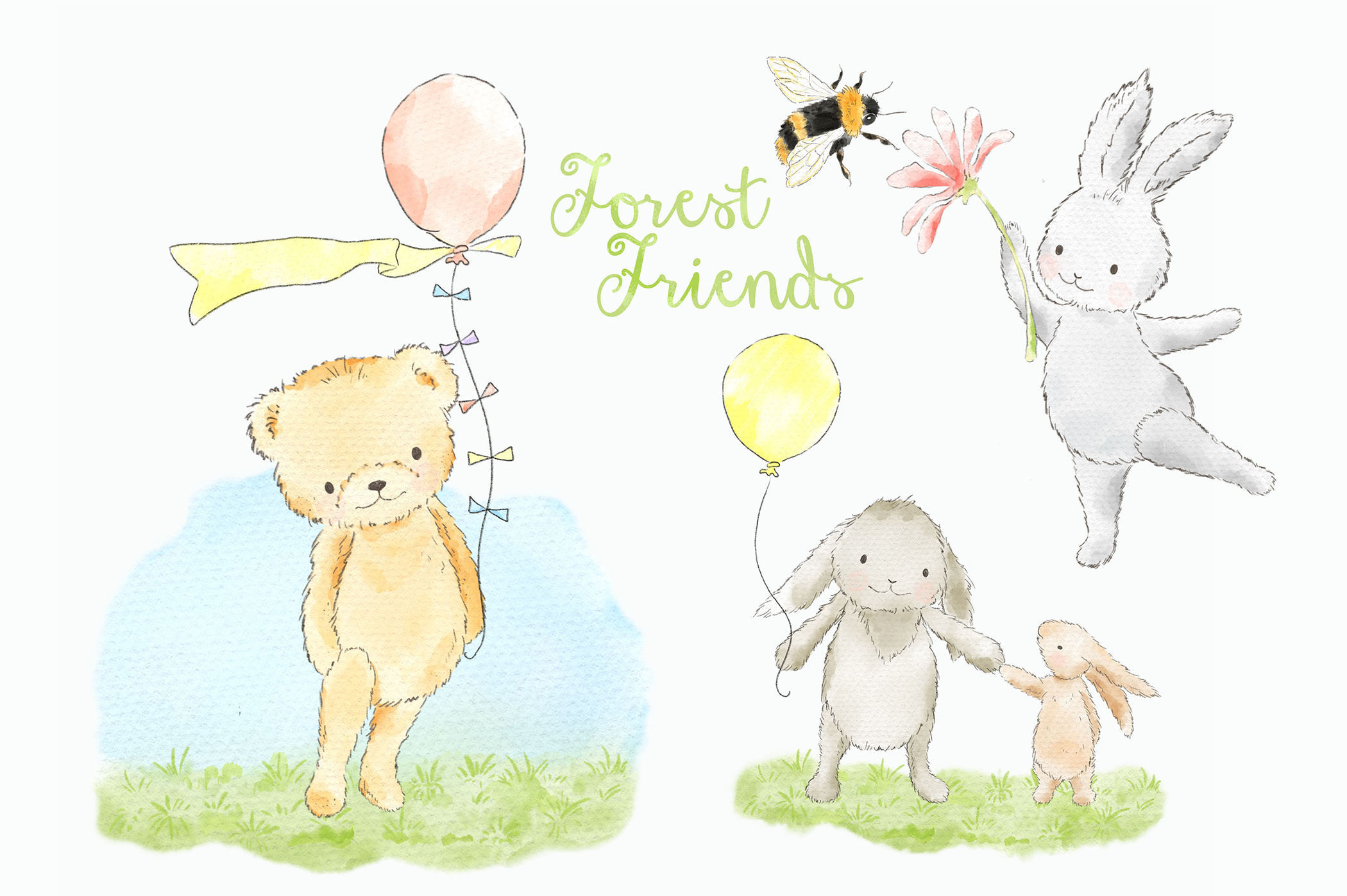 Download Free Forest Woodland Animals Clipart Graphic Graphic By Kabankova for Cricut Explore, Silhouette and other cutting machines.