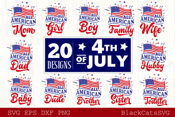 Download Free Fourth Of July Svg Bundle 20 Designs Graphic By Blackcatsmedia for Cricut Explore, Silhouette and other cutting machines.
