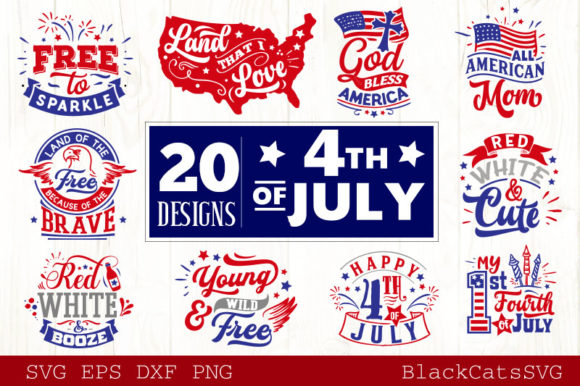 Download Free Fourth Of July Svg Bundle 20 Designs Graphic By Blackcatsmedia SVG Cut Files