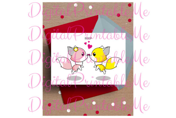 Fox Love Card Boop Valentine Anniversary Graphic By DigitalPrintableMe