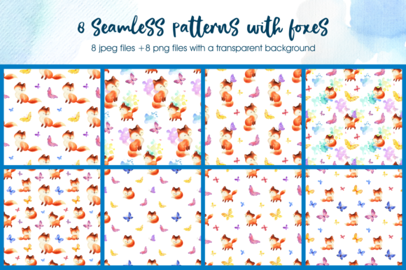 Print on Demand: Foxes and Butterflis. Watercolor Seamles Graphic Patterns By Olga Belova - Image 2