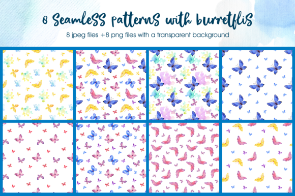 Print on Demand: Foxes and Butterflis. Watercolor Seamles Graphic Patterns By Olga Belova - Image 3