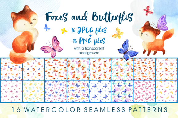 Print on Demand: Foxes and Butterflis. Watercolor Seamles Graphic Patterns By Olga Belova
