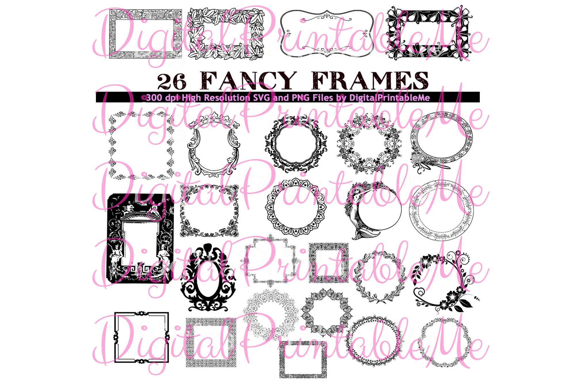 Download Free Frame Clip Art Set Art Deco Borders 26 Graphic By for Cricut Explore, Silhouette and other cutting machines.