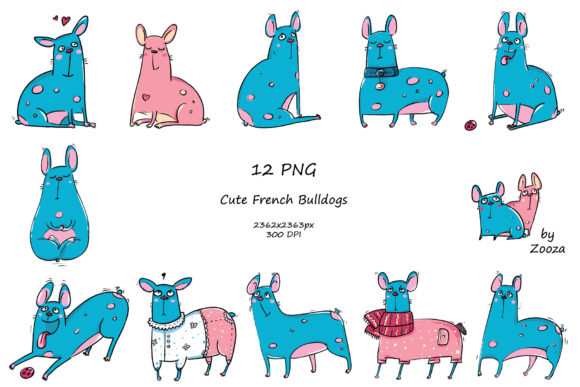Print on Demand: French Bulldogs - Sticker Pack Graphic Objects By Zooza Art - Image 2