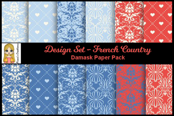 French Country - Damask Paper Pack Graphic By Aisne