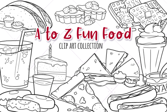 Print on Demand: Fun Foods a to Z (Black and White) Graphic Illustrations By Keepinitkawaiidesign