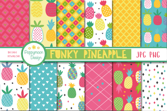 Print on Demand: Funky Pineapple Paper Graphic Patterns By poppymoondesign