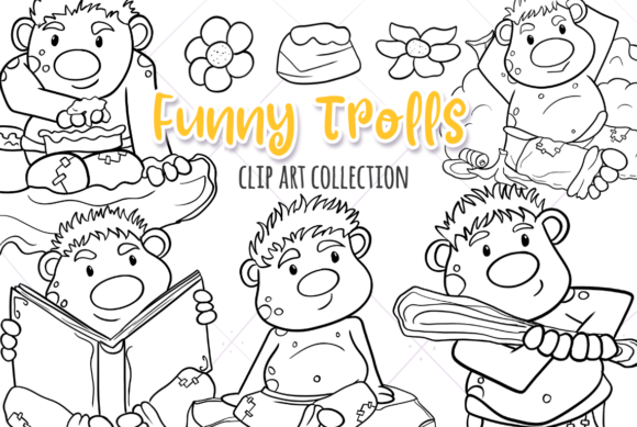 Print on Demand: Funny Trolls Black and White Graphic Illustrations By Keepinitkawaiidesign