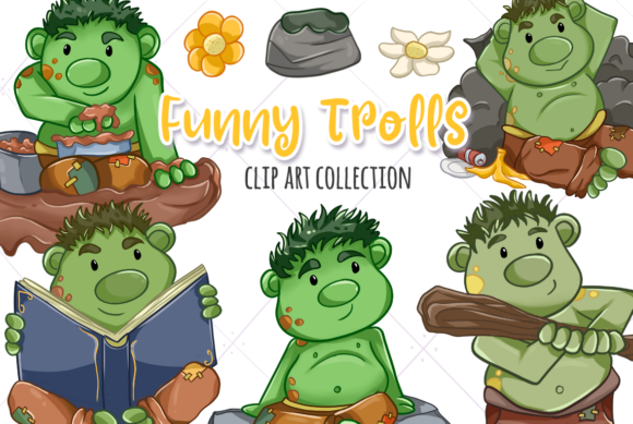 Print on Demand: Funny Trolls Grafik Illustrationen von Keepinitkawaiidesign