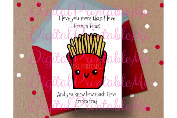Funny Valentine Card French Fries Love Graphic By DigitalPrintableMe