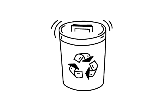 Download Free Garbage Bin With Recycling Logo Svg Cut File By Creative Fabrica for Cricut Explore, Silhouette and other cutting machines.