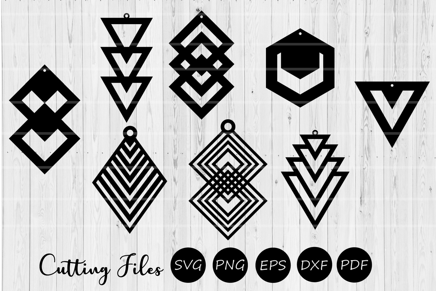 Download Free Geometric Earrings Graphic By Hd Art Workshop Creative Fabrica for Cricut Explore, Silhouette and other cutting machines.