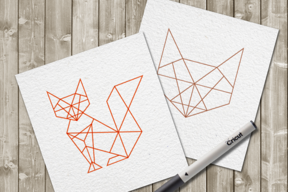 Geometric Fox Single Line for Pens Graphic Crafts By DesignedByGeeks