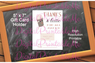Gift Card Holder Thanks a Latte Coffee Graphic By DigitalPrintableMe