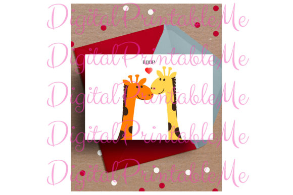 Giraffe Card Valentine's Day Love Card Graphic By DigitalPrintableMe