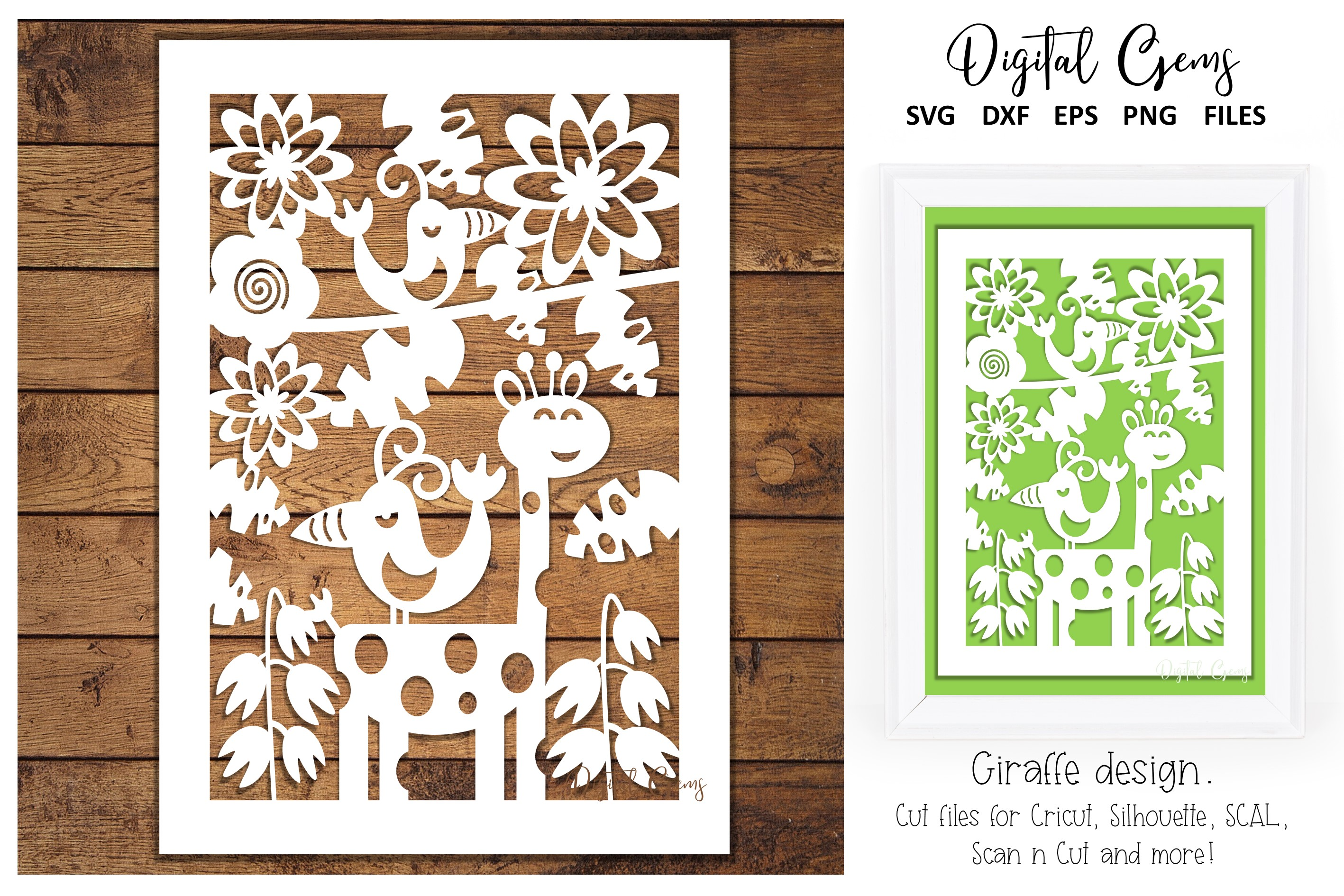 Download Free Giraffe Papercut Design Graphic By Digital Gems Creative Fabrica for Cricut Explore, Silhouette and other cutting machines.