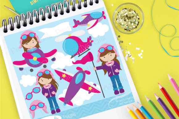 Print on Demand: Girl Pilot Graphic Illustrations By Prettygrafik