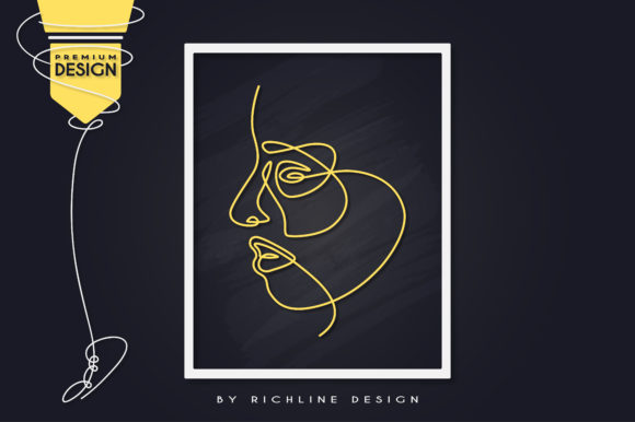 Girl by Side Line Art Poster Graphic Illustrations By RICHLINE DESIGN