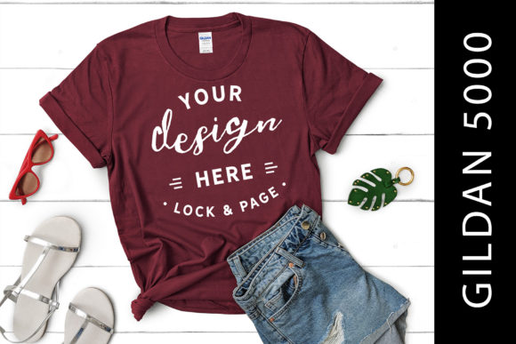 Download Free Girls Maroon Gildan 5000 T Shirt Mockup Graphic By Lockandpage for Cricut Explore, Silhouette and other cutting machines.