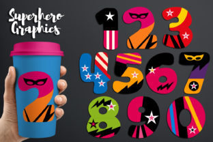 Download Free Girly Superhero Numbers Graphic By Revidevi Creative Fabrica for Cricut Explore, Silhouette and other cutting machines.