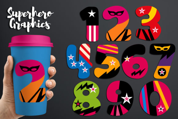 Print on Demand: Girly Superhero Numbers Graphic Illustrations By Revidevi