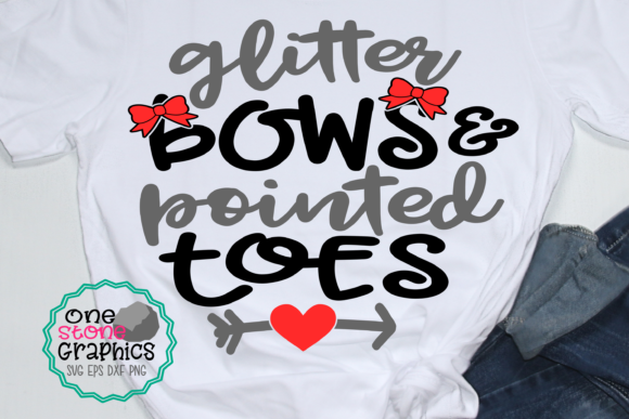 Glitter Bows and Pointed Toes Svg Graphic Crafts By OneStoneGraphics