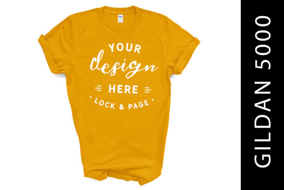 Gold Gildan 5000 T-Shirt Mockup on White Graphic Product Mockups By lockandpage