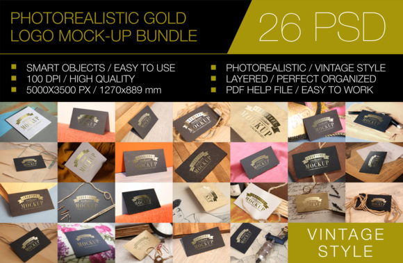 Print on Demand: Gold Logo Mockup Bundle - 26 PSD Graphic Product Mockups By bywahtung