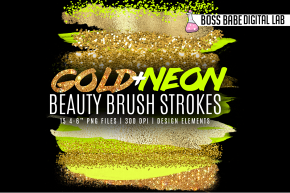 Print on Demand: Gold and Neon Beauty Brush Strokes Graphic Illustrations By bossbabedigitallab