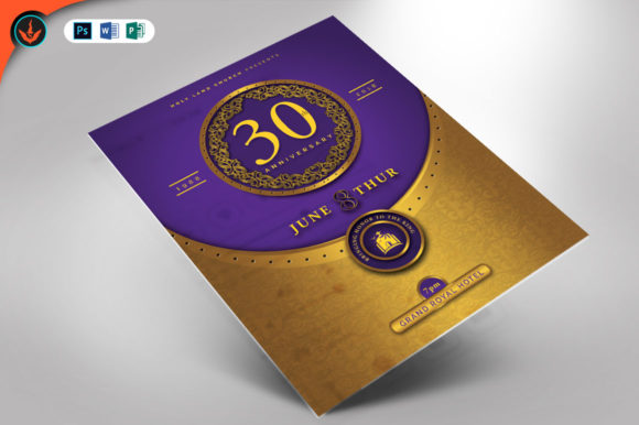 Download Free Gold And Violet Anniversary Flyer Graphic By Seraphimchris SVG Cut Files