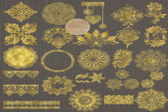 Print on Demand: Golden Doily Clipart Graphic Illustrations By retrowalldecor