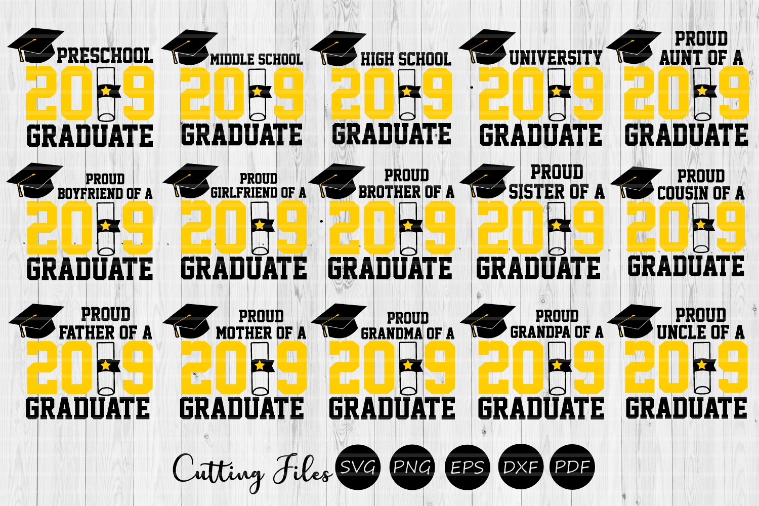 Download Free Graduation Bundle Graphic By Hd Art Workshop Creative Fabrica for Cricut Explore, Silhouette and other cutting machines.