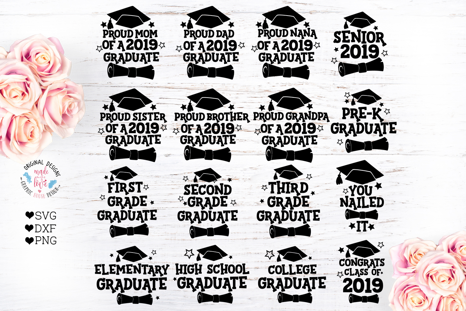 Download Free Graduation Bundle Graphic By Graphichousedesign Creative Fabrica for Cricut Explore, Silhouette and other cutting machines.